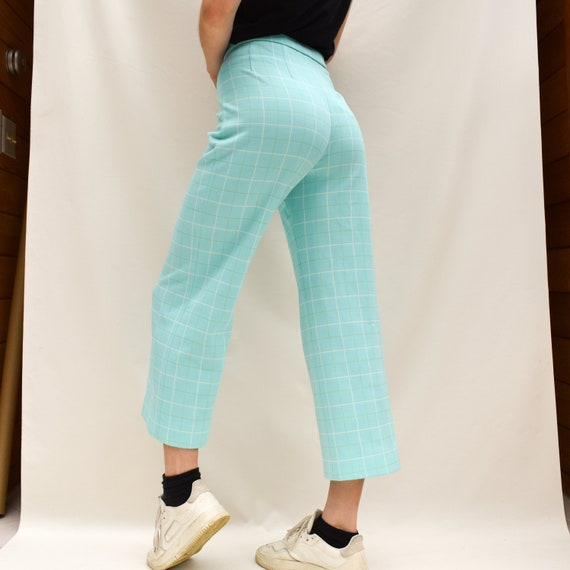 1970/'s Turquoise High Rise Waist Plaid Pants Size Small  4  28
