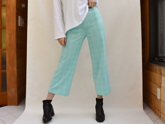 70s Turquoise Plaid / Checked Pants - vintage 70s