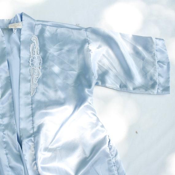 90s Light Blue Satin Robe - kimono robe silk robe… - image 4