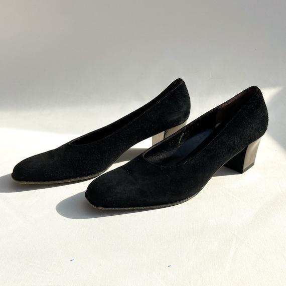 70s Salvatore Ferragamo Black Suede Heels - vintag