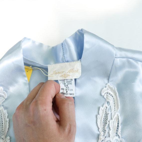 90s Light Blue Satin Robe - kimono robe silk robe… - image 5