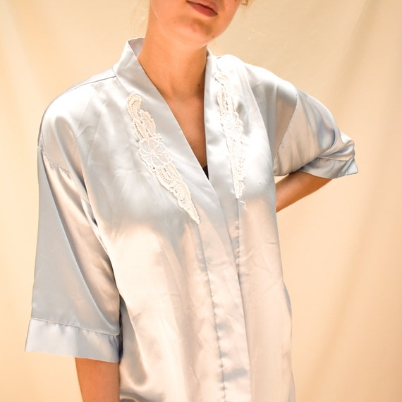 90s Light Blue Satin Robe - kimono robe silk robe… - image 2
