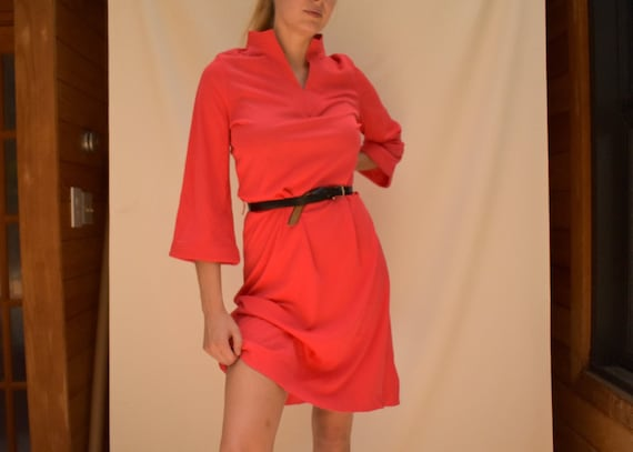 70s Red Dress with Bell Sleeves - 70s shift dress