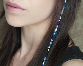 Lot blue and purple glass beaded hair wrap Handmade In USA Beaded Hair Wrap For 1 Native American Style