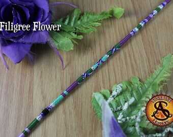 Filigree Flower hair wrap, clip in hair braid, hair jewelry, Floral charm, purple and green, boho hair extension, nature hippy accessories