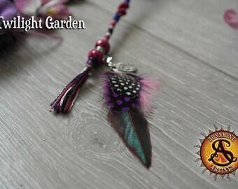 Twilight Garden feathered hair braid, clip in hair wrap, hair extension, Tibetan silver round floral charm, purple cerise blue, black white