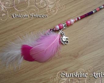 Unicorn charm, feathered hair wrap, pink hair braid, pink purple, silver purple sparkly, pink beads, pink white feathers, UNICORN PRINCESS