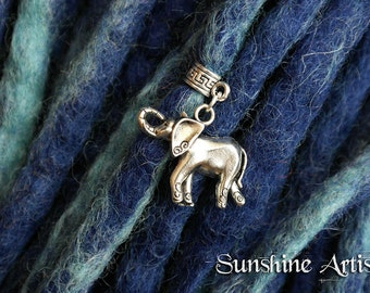 Elephant charm, necklace pendant, bracelet charm, Tibetan silver, choose your own charm hanger, dreadlock charm, hippy accessories