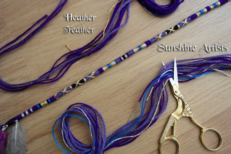 Feather hair wrap Heather Feather gold sparkly lavender purple guinea fowl feathers black blue festival boho chic clip in hair braid