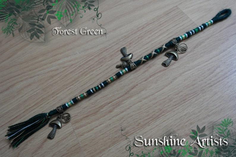 Forest Green-Wool dread-hair wrap-dread extension-dark green-khaki green-white gold-mushroom charm-peace charm-bronze charms-fake dreads