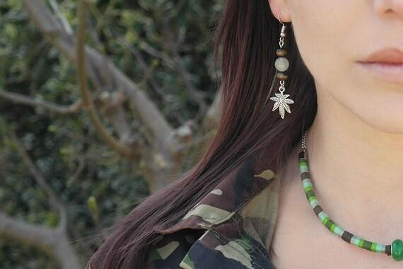 Carved Leaf Handmade Aventurine Leaf Dangle Earrings Hanging on a Ball with Loop Ear Studs Made in 14K Gold Filled Aventurine Leaf Earrings