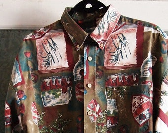 Classic Vintage Mens 1980s / 80s  Ivy League Preppy Style All Over Academy Elite All Over Illustrated Graphic Print Long Sleeve Shirt