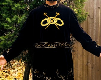 Exquisite EPIC Rare 1800s Victorian Antique Gothic Odd Fellows Black Velvet & Gold  Double Sword I.O.O.F. Chain Embroidered Long Sleeve Robe