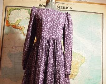 b01ed4f5bd Rare 1980s   80s Vintage Classic Beautiful Designer LAURA ASHLEY Purple  Folk Sister Wife Floral Graphic Long Puffy Sleeve Prairie Dress