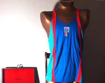 Retro NIKE 1980s / 80s Vintage Mens Neon Sport Stripe Colour Blocked Bad Ass Novelty Athletic Racerback Tank Top {LARGE}