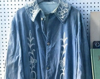 """Rare Victorian 1860-1910 Stunning Odd Fellows Antique Pale Pastel Blue Vintage Unusual Handcrafted Ivory Embroidered """"WARDEN"""" Regalia Robe"""