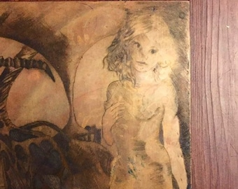 Weird 1970s / 70s Vintage One of a Kind Surreal Fantasy Fine Art Unusual Nude Female Pin Up Figure Etched Copper Metal Intaglio Art Plate