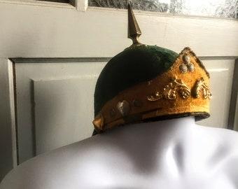 Unusual Victorian Antique 1800s Mens Medieval ODD FELLOWS Secret Society Fraternal Emerald Green and Gold Regalia Ritual Costume Helmet Hat