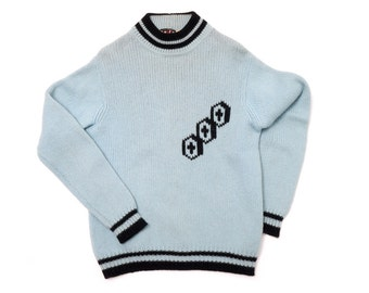 Classic 1950s / 50s Mens Secret Society Pastel Blue and Black Mysterious Tri-Cross Academy Two Tone Prep School Mock Turtle Neck Sweater