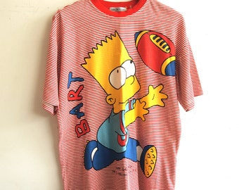 Rad Rare Mens 1990s Oversized Bart Simpson Cartoon Pop Art Red + White Striped Grunge NYC Unusual Cool Novelty Graphic T-Shirt (LARGE)