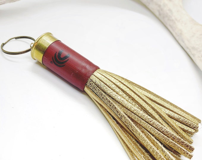 12 Gauge Mini Shotgun Casing Keychain with Gold Fringe