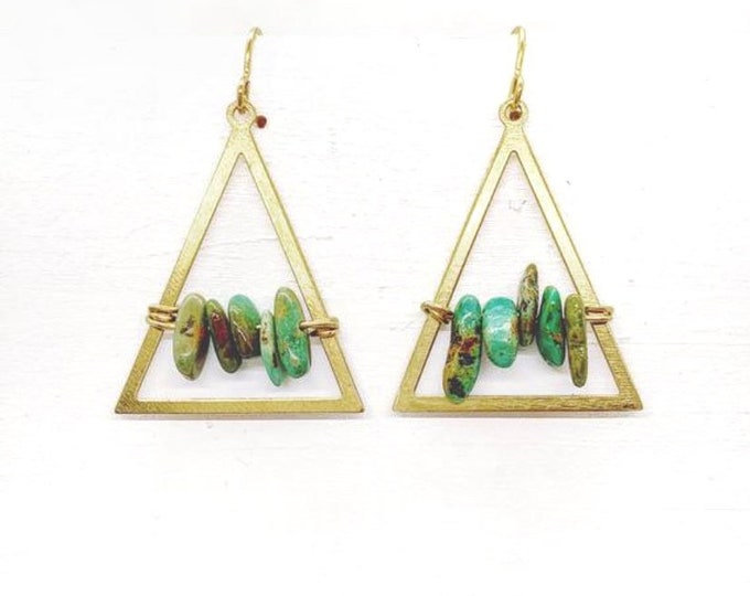 Brass Turquoise Stone Chip Earring