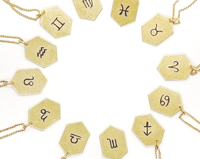 Brass Zodiac Charm Necklace