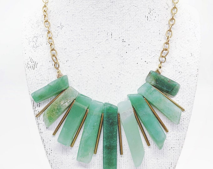 Brass and Aventurine Gemstone Rays Necklace
