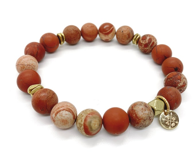 Red Lace Jasper Natural Stone Bracelet