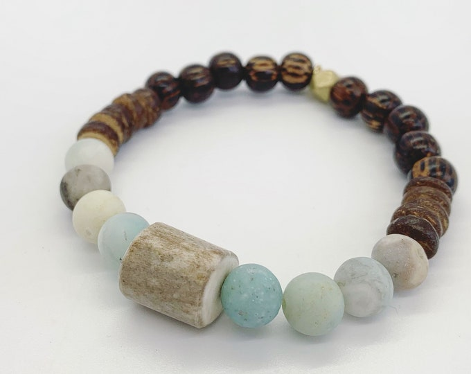 Amazonite and Deer Antler Bracelet