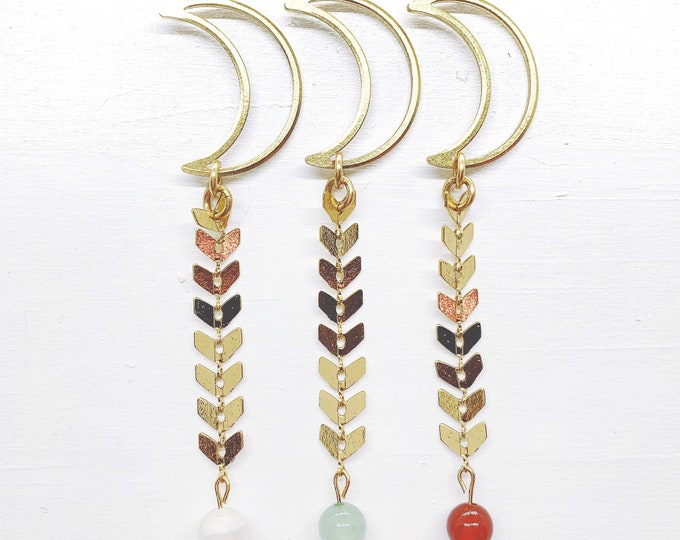 Chevron Crescent Moon Earrings