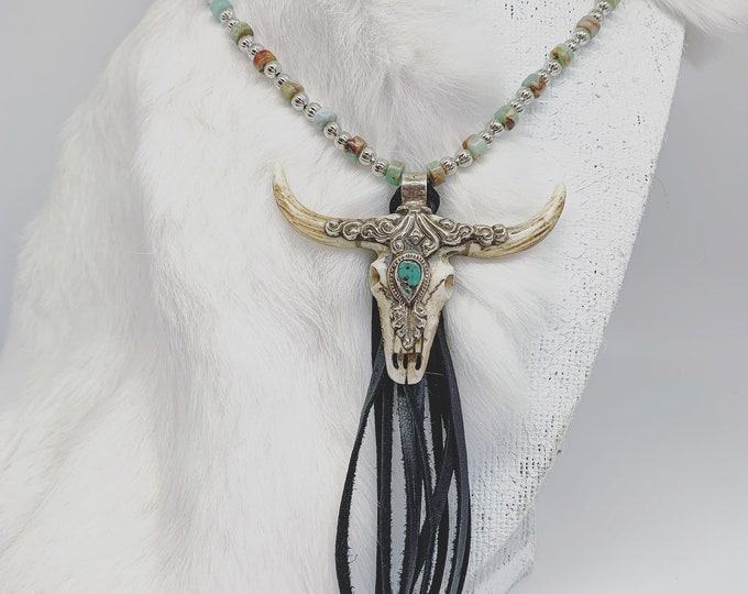 Turquoise And Jasper Fringe Bull Pendant Necklace