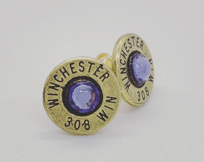 Winchester Bullet Stud Earring With Swarovski Crystals