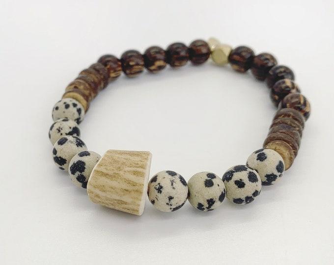 Dalmatian Jasper and Deer Antler Bracelet