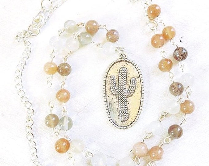 Moonstone Cactus Pendant Necklace