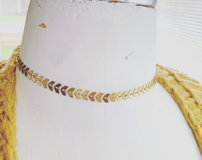 Brass Chevron Chain Choker Necklace