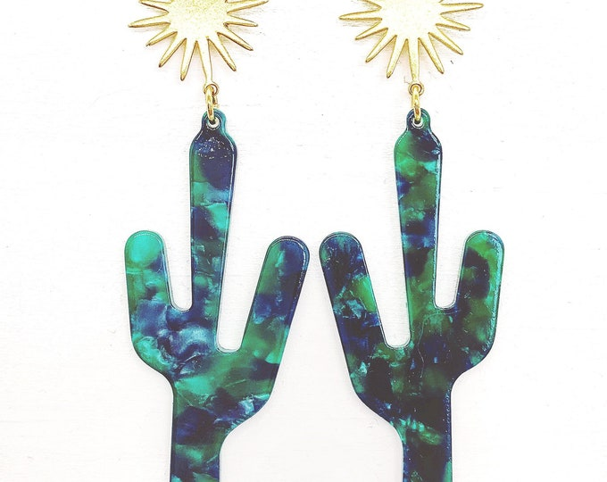 Saguaro Star Cactus Earrings