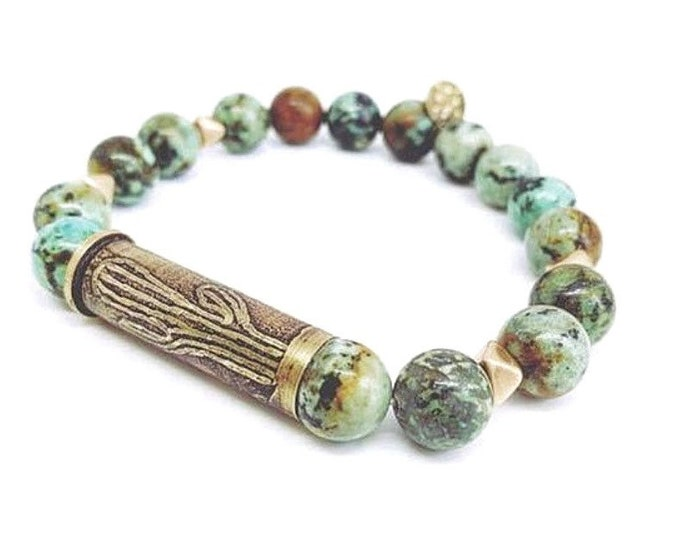 Etched 357 Bullet Casing Bracelet with African Turquoise, Cactus Design