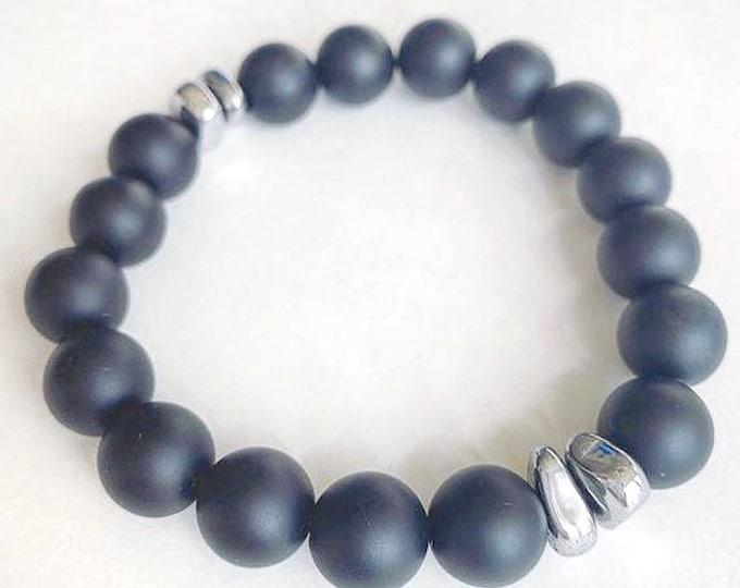 Men's Onyx and Hematite Stone Bracelet