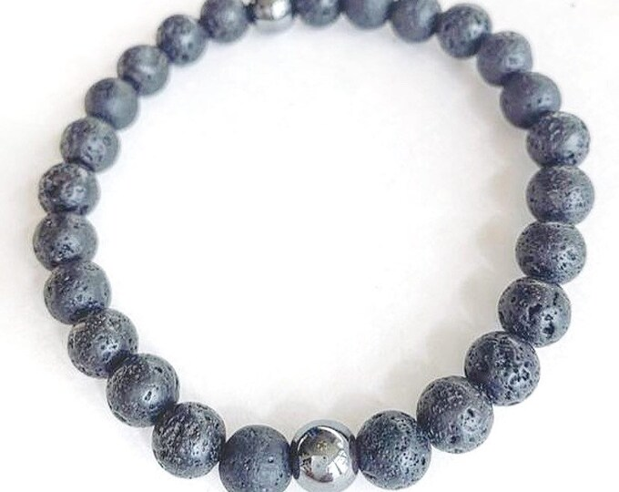 Men's Lava Bead with Hematite Bracelet