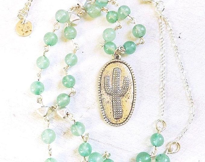 Aquamarine Cactus Pendant Necklace