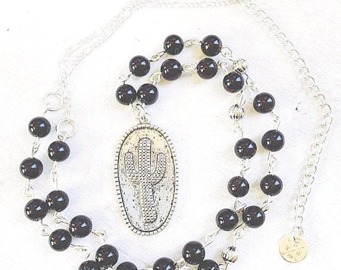 Onyx Cactus Pendant Necklace