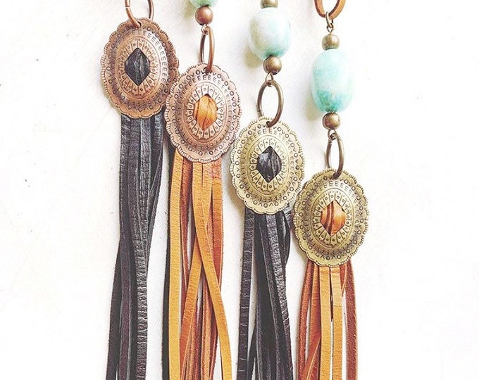 Concho and Leather Fringe Necklace