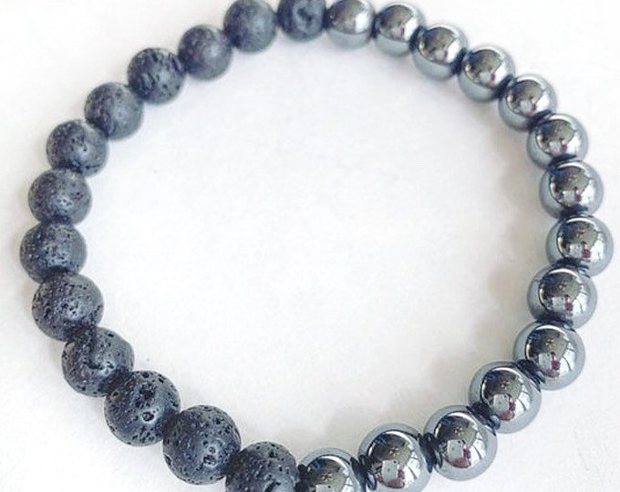Men's Hematite with Lava Stone Bracelet
