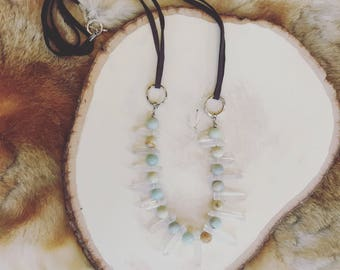 Stone and Crystal Burst Necklace