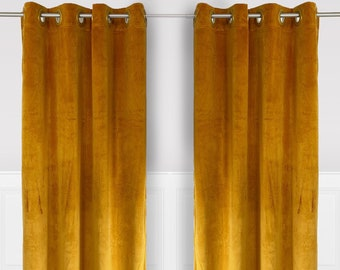 Gold 52 X 96 Inch Velvet Curtains with Grommets - 2 Panels