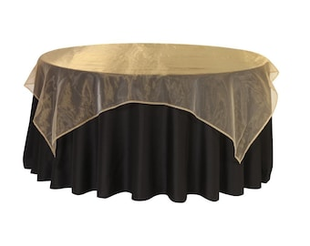 YCC Linen   72 Inch Square Organza Table Overlay Gold | Wedding Table  Overlay