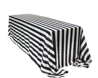 Black And White Striped 90 X 156 Inch Rectangular Satin Tablecloth    Wholesale Tablecloths