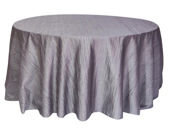 Dark Silver / Platinum 120 Inch Round Crinkle Taffeta Tablecloth |  Wholesale Wedding Tablecloth, Round Table Linens