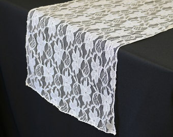 YCC Linen   14 X 108 Inch Lace Table Runner White